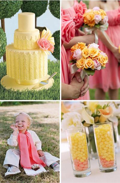 Honeysuckle Pink and Lemon Yellow Wedding Inspiration Board