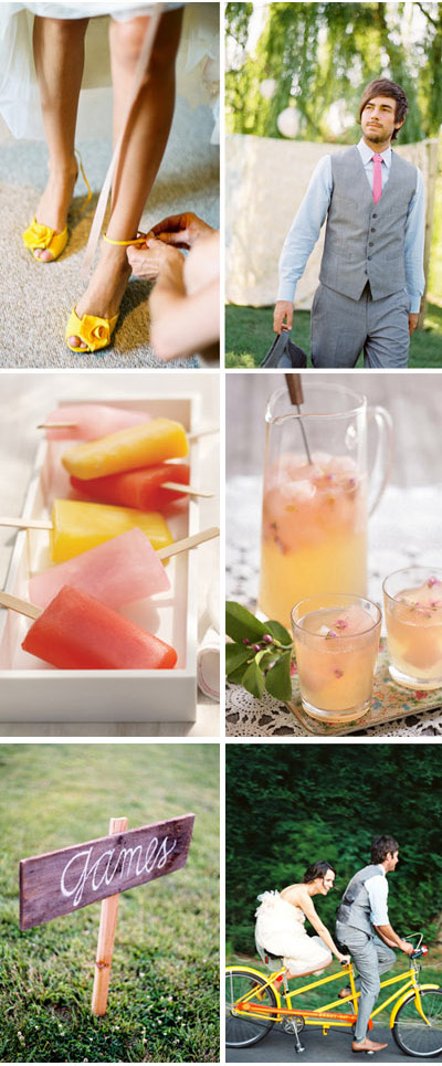 Honeysuckle Pink and Lemon Yellow Wedding Inspiration Board