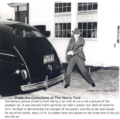 As shown in one of the pictures Henry Ford liked to publicly demonstrate the strength of the soybean plastic car was by taking an axe to it.  sc 1 st  Bayblab & Bayblab: Henry Ford and the Soybean Car markmcfarlin.com