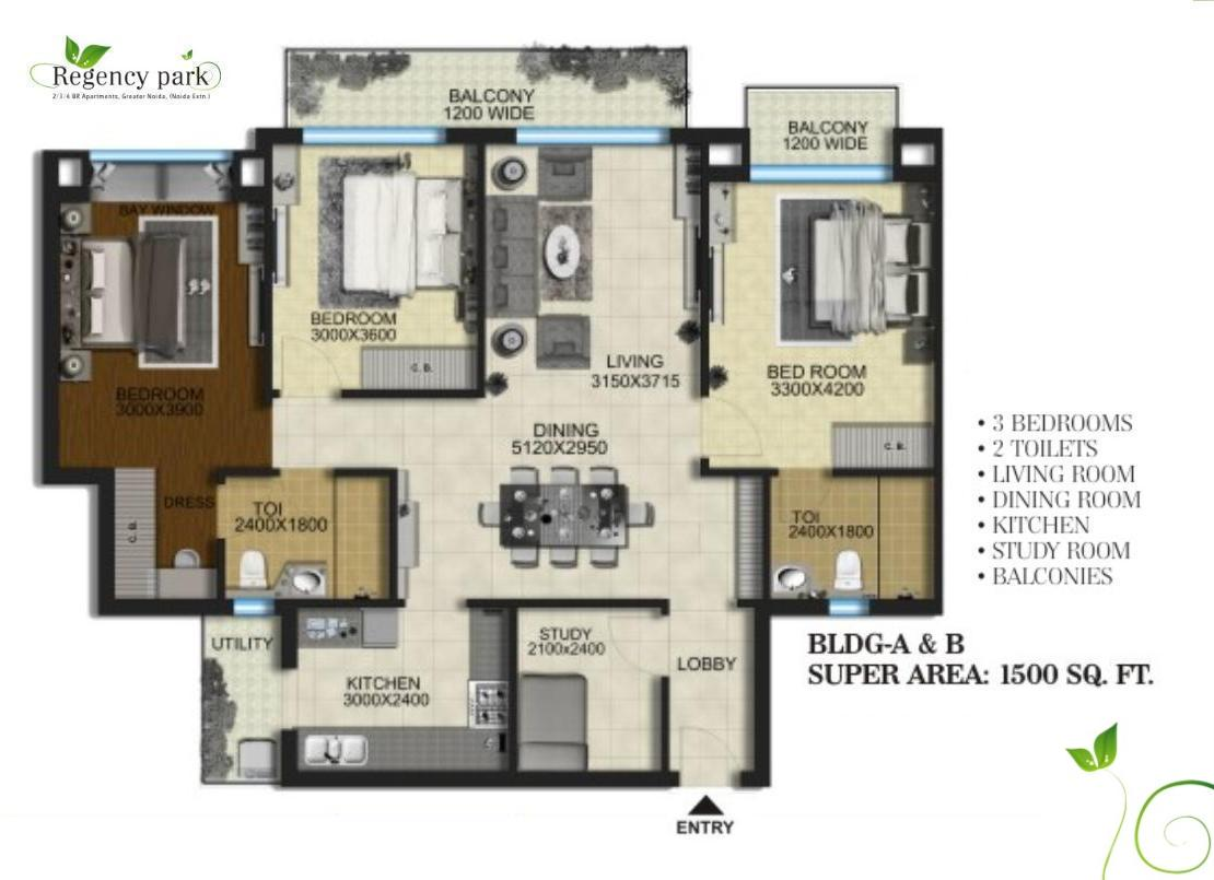 Regency park floor plan 1500 sq ft type a for 1500 sq ft