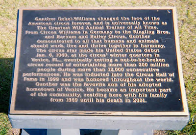 Commemorative plaque at the Gunther Gebel-Williams statue, Venice Florida