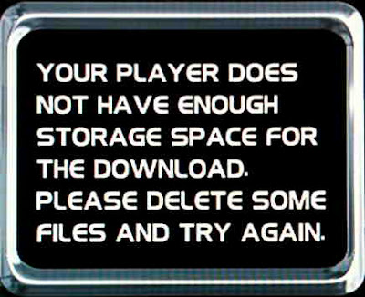 Your player does not have enough storage space for the download.  Please delete some files and try again.