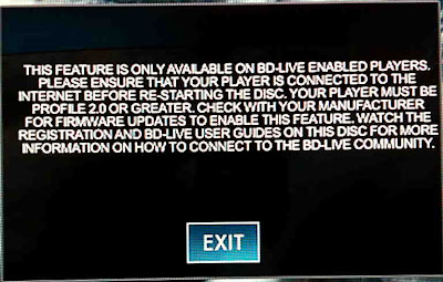 This feature is only available on BD-Live enabled players.  Please ensure that your player is connected to the Internet before re-starting the disc.  Your player must be profile 2.0 or greater.  Check with your manufacturer for firmware updates to enable this feature.  Watch the registration and BD-Live user guides on this disc for more information on how to connect to the BD-Live community.