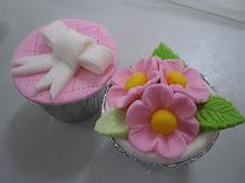 Ribbon n Pink Flowers Fondant cupcakes