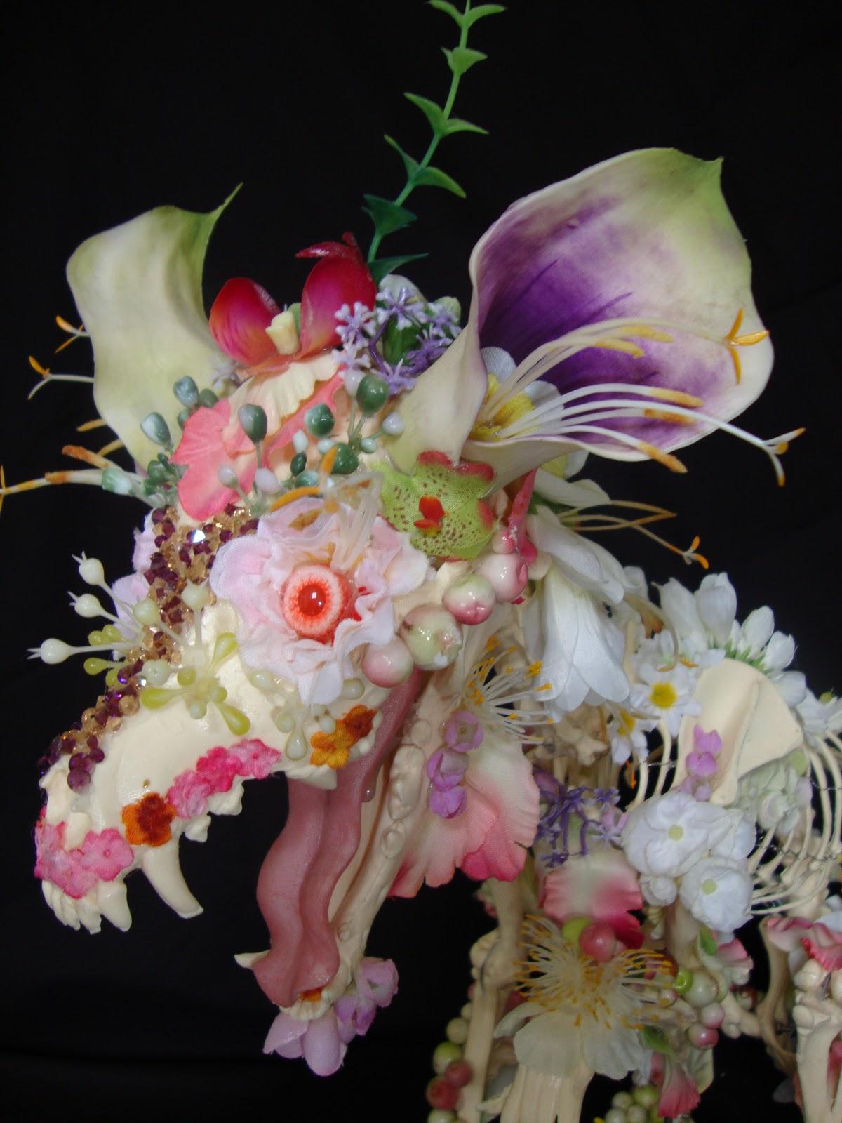 Cedric Laquieze flower skeleton sculptures