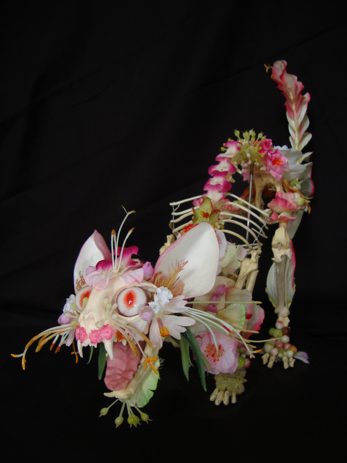 Cedric Laquieze flower skeleton sculptures