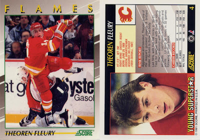 theoren fleury, score young superstars, score, young superstars, 91-92, calgary flames, nhl, hockey, hockey cards