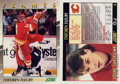 theoren fleury, score young superstars, score, young superstars, 91-92, calgary flames, nhl, hockey, hockey cards