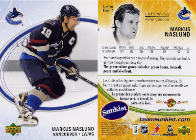 Markus Naslund, Vancouver Canucks, Upper Deck, sunkist, 06-07, nhl, hockey, hockey cards