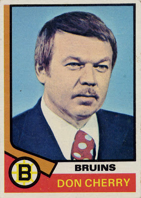 Don Cherry, Boston Bruins, Topps, 74-75, NHL, hockey, hockey cards, rookie