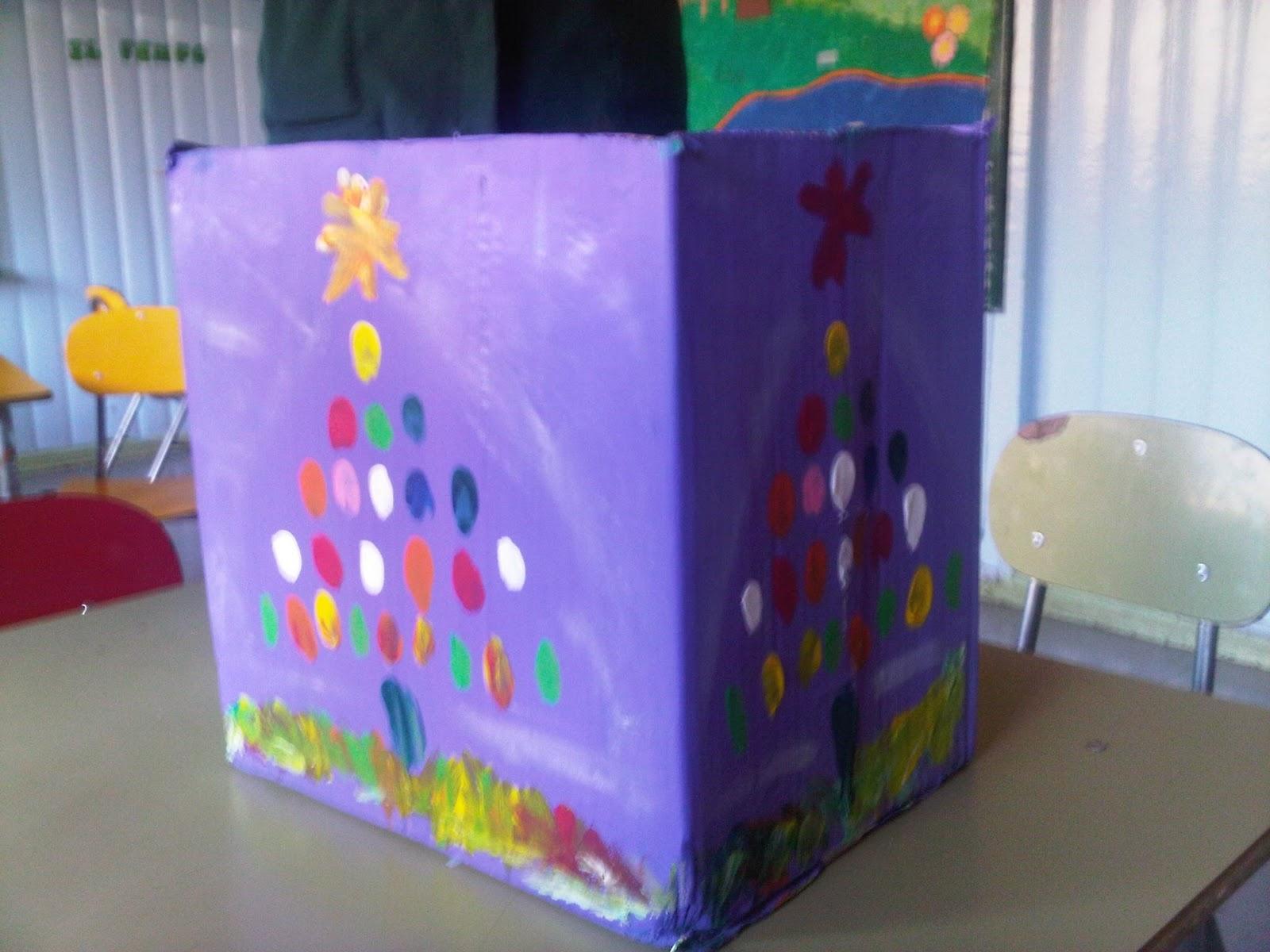 Mi manzana azul decorar cajas de cart n para navidad - Decorar con cajas de carton ...