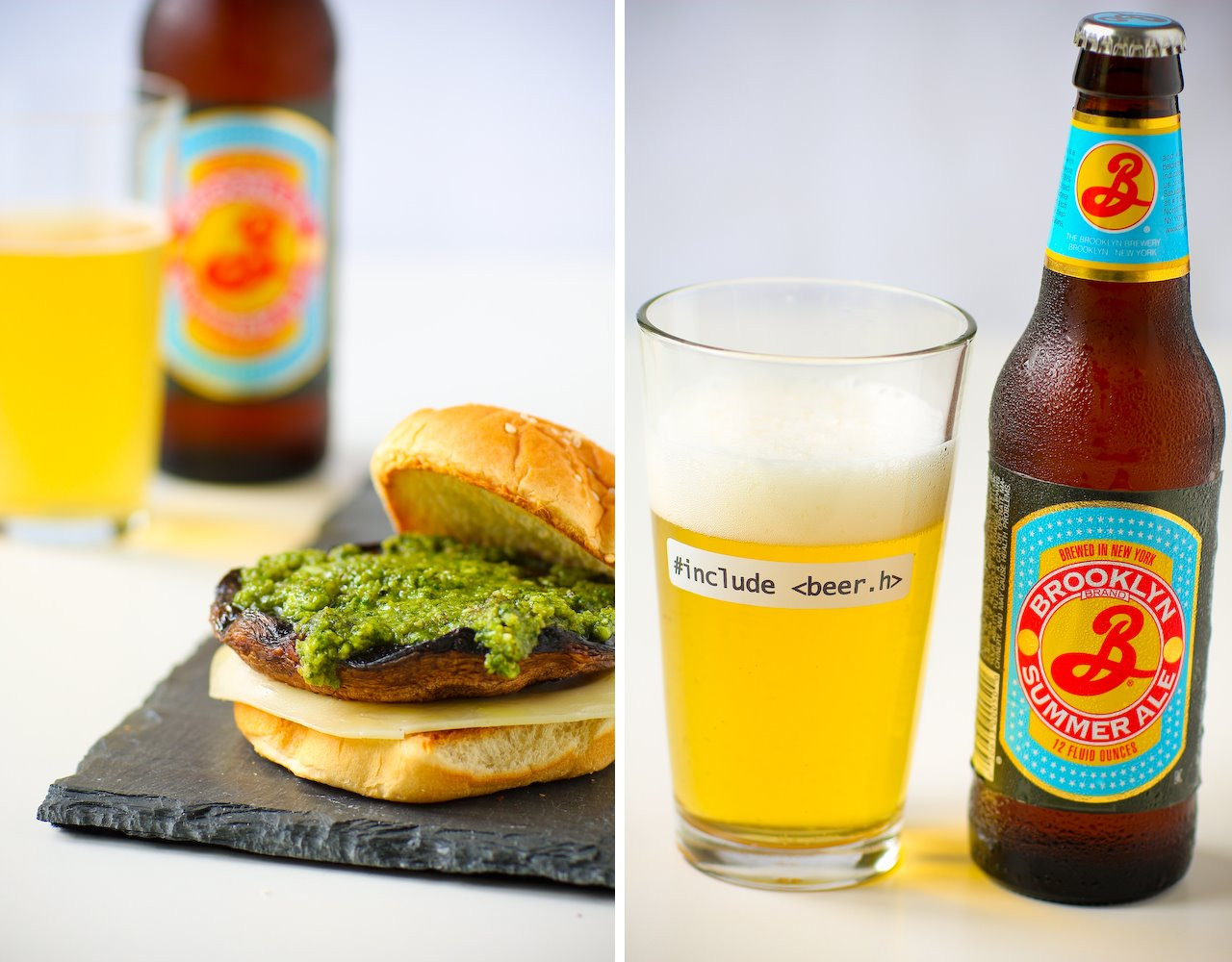 Pesto Portabella Burger, Brooklyn Summer Ale