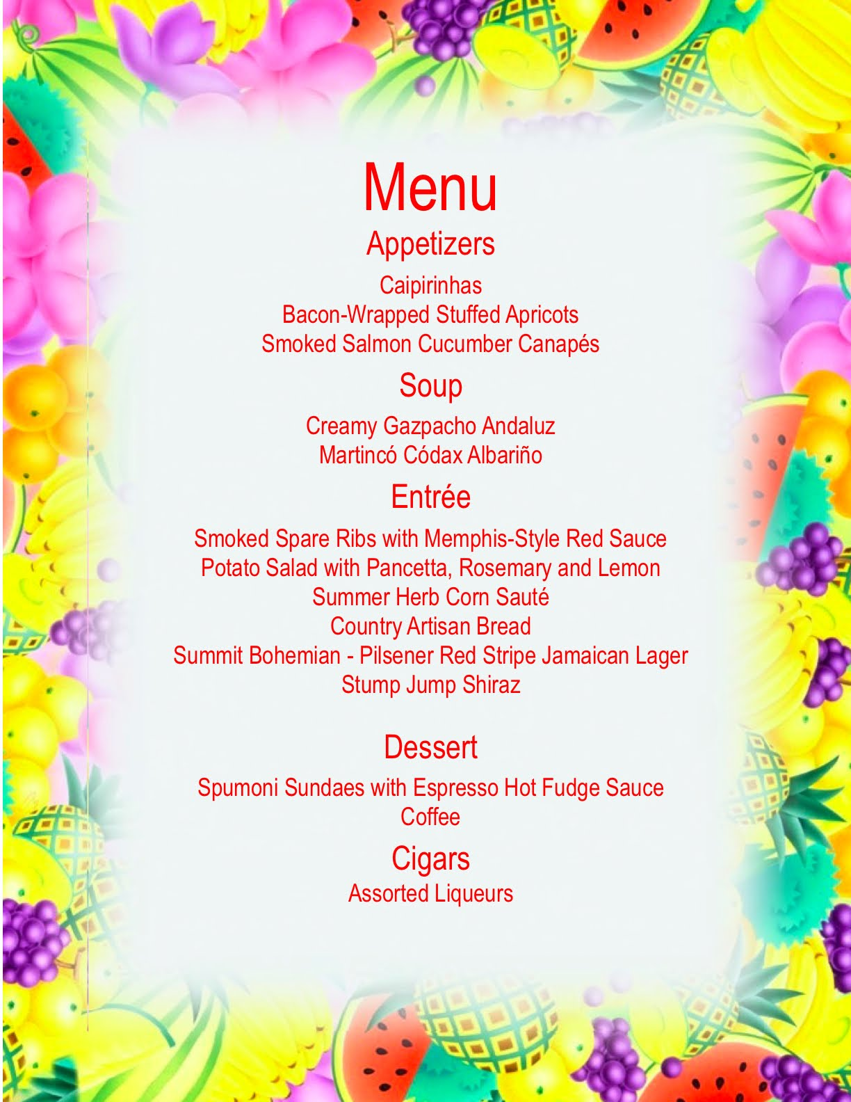 Summer dinner menu 28 images summer wedding dinner for Summer party menu ideas