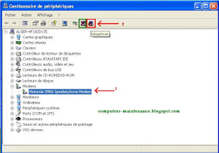 Désactiver un périphérique sous Windows XP