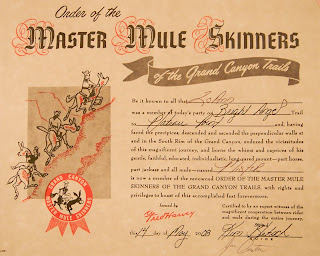 Click for Larger Image of My 'Master Mule Skinner' Certificate