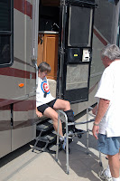 Click for Larger Image of ZoAnn getting into John's Rig