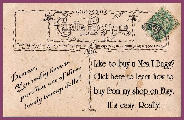 Purchase MRS.T.BAGG on etsy with paypal or a credit card. Or e-mail me to arrange payment by check!