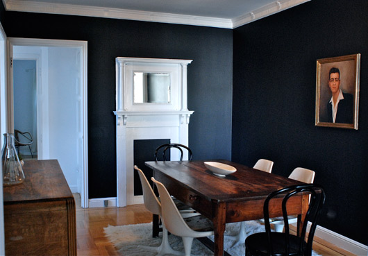 Today s inspiration chalkboard walls burritos and bubbly for Dark grey dining room