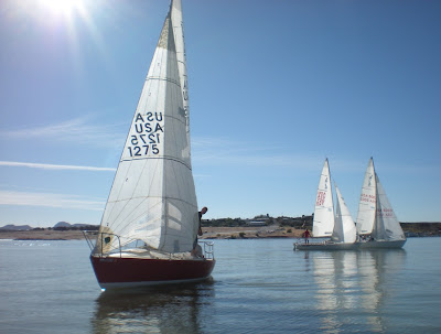 Under the bright New Mexico sunshine are Oso and two other J boats ...