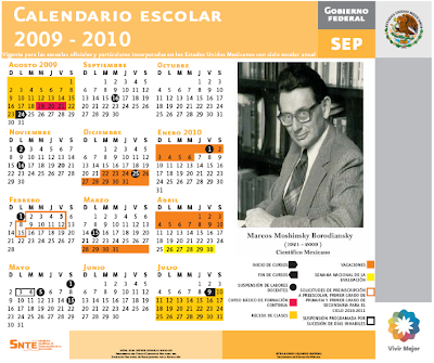 Calendario Escolar México 2009 - 2010