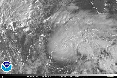 Hurrikan IDA in der Straße von Cancún, Atlantik, Hurrikansaison 2009, Karibik, Sturm, Wetter Mexiko, Satellitenbild,