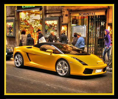yellow Lamborghini at heathrow airport