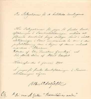 Albert Edelfeltin allekirjoittama asiakirja koskien Pariisin maailmannäyttelyä, 2.1.1900.