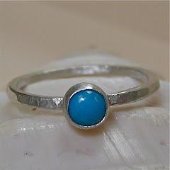 Sleeping Beauty Turquoise and Silver Stack Ring