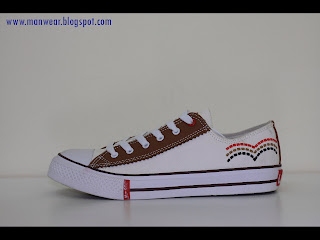 Price: RM 59 Item Code: L-01 Color: Main White with chocolate at the middle.  Material: Leather Size: Euro 41 to 45