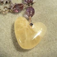 honeycomb calcite heart pendant