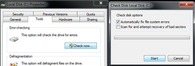 how to start check disk