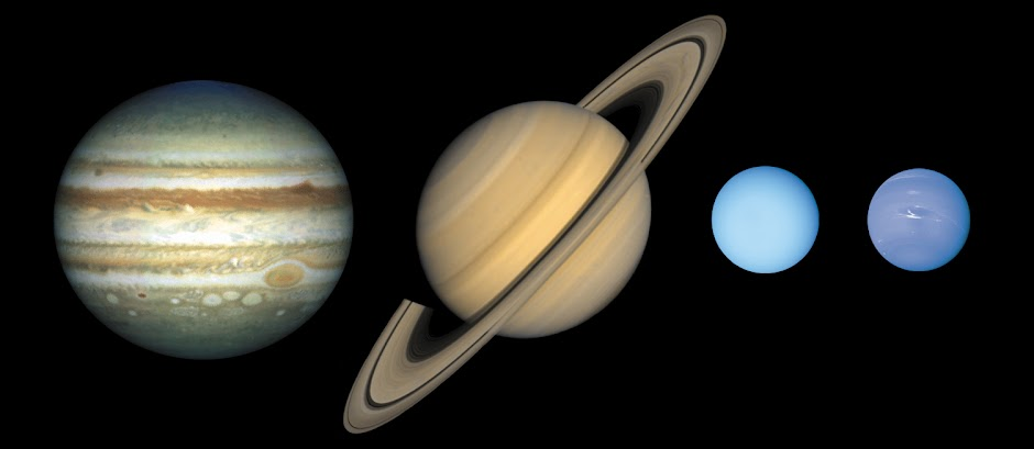 Jupiter, Saturn, Uranus, and Neptune