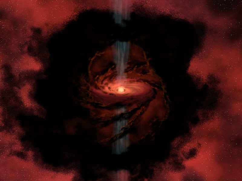 This artist's rendering gives us a glimpse into a cosmic nursery as a star is born from the dark, swirling dust and gas of this cloud.