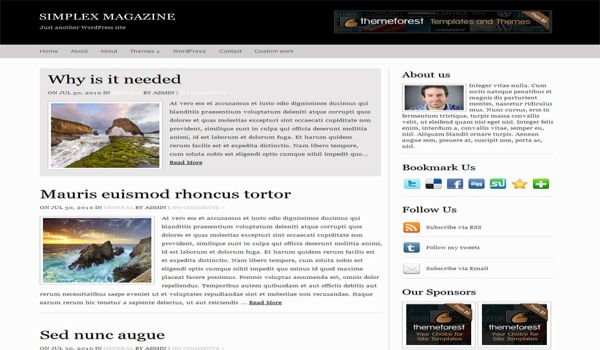 Simple White Black Magazine Wordpress Theme