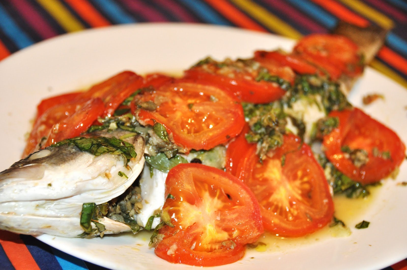 Deliciously nourishing oven steamed whole branzino with for Steam fish in oven