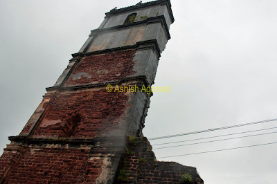 The still remaining tall structure of the St. Augustine Church in Goa. now in ruins