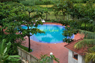Beautiful swimming pool located at the back of the Palmarinha Resort in Goa