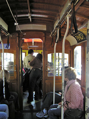 Seating inside a cable car in San Francisco