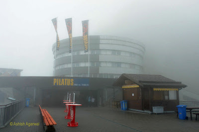The main building of Mount Pilatus - it was cold and windy