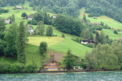 Houses from the lake shore up the hill right next to Lake Lucerne.jpg