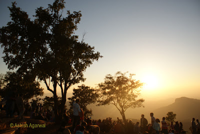 People gathered to watch the sunset at Dhoopgarh in Pachmarhi