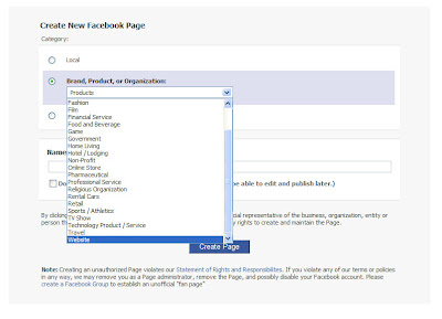 Selecting the proper category for creating the Fan Page for a Website