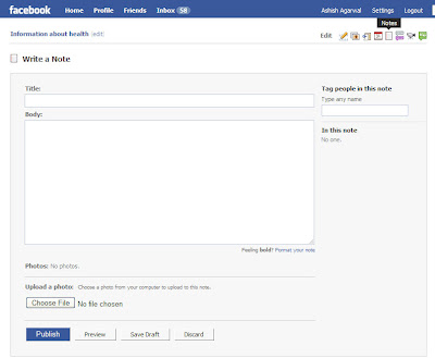 Clicking on the Notes button in the Notes tab in a Facebook Fan Page