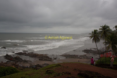 View of Vagator Beach in Goa from a height, a bit of rock, but also some beautiful beach