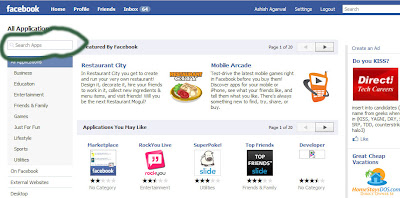 Search for Applications in Facebook at the Browse Applications Page