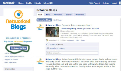 Networked Blogs Home Page on Facebook