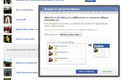Option for allowing Networked Blogs to allow automatic posting to the Fan Page