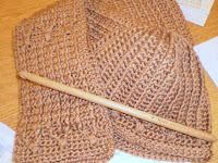 scarf & hat by Nancy pictured with a Tunisian Chester crochet hook