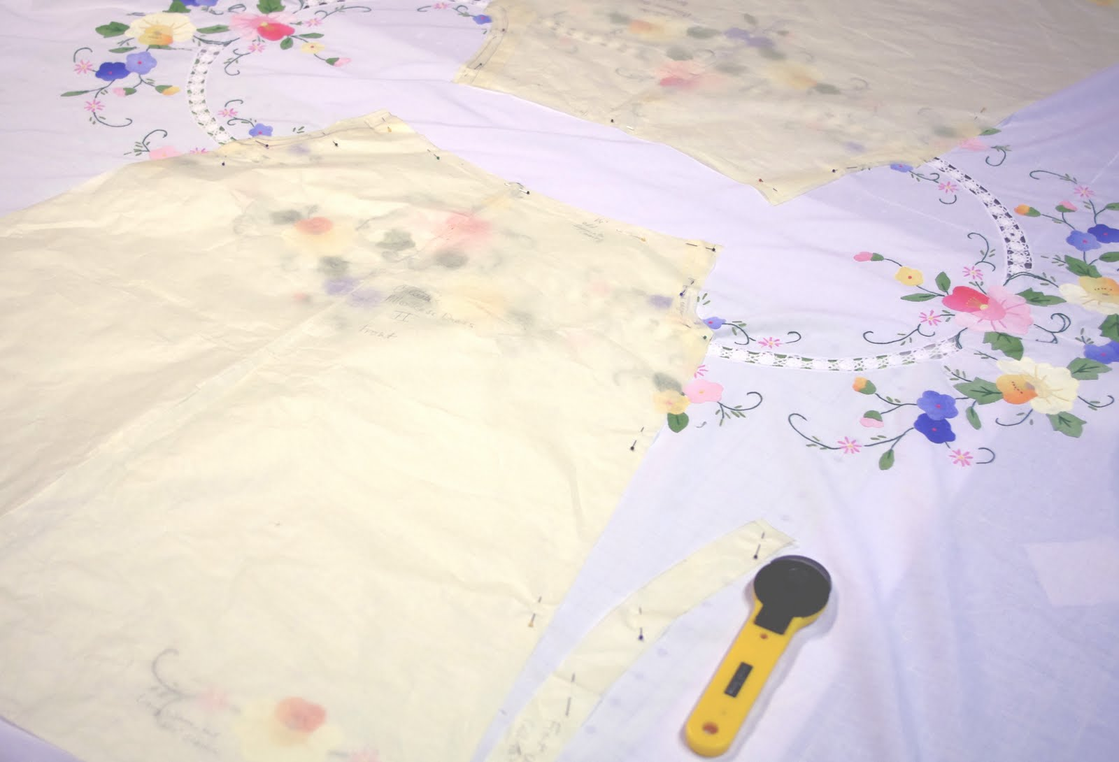 Applique designs for tablecloth - I Usually Use Manila Hard Patterns But I Like To Use Tissue When Cutting Out The Tablecloth Dresses Makes It Easier To Engineer The Placement