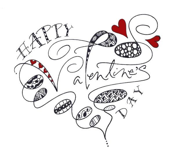 Belated Valentine's Day Zentangle